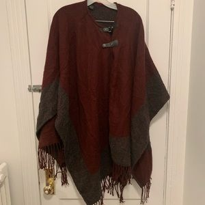 Red and Grey Poncho Sweater